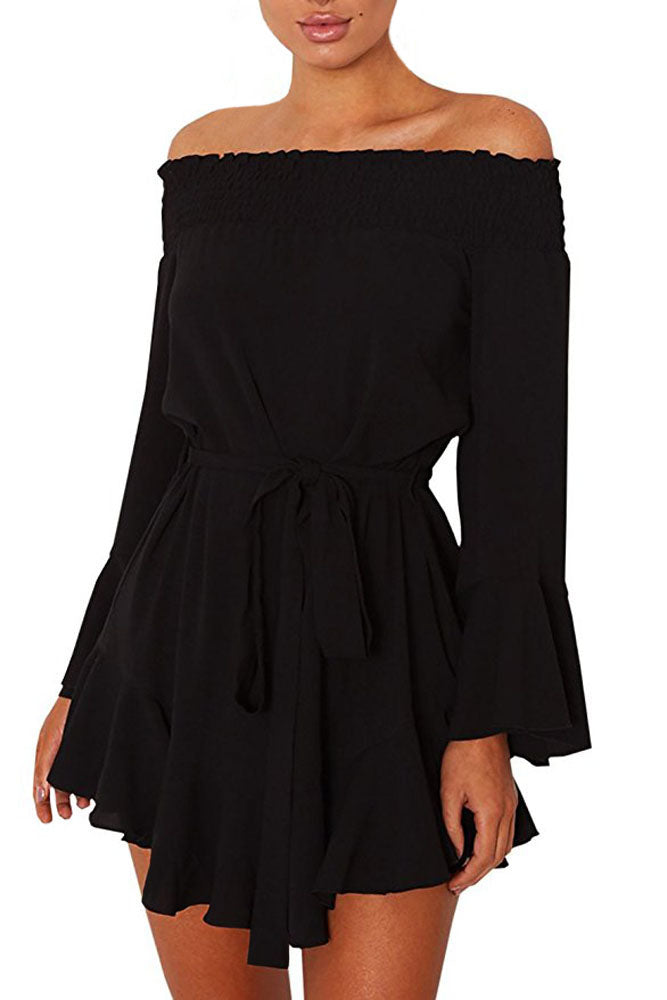 Black Flare Sleeve Drop Hem Pleated Off Shoulder Dress
