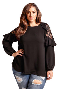 Black Ruffle Trim Lace Cold Shoulder Plus Size Blouse