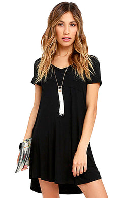 Black Trendy Sweetheart Neck Pocket Shirt Dress