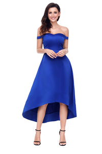 Blue High-shine High-low Party Evening Dress