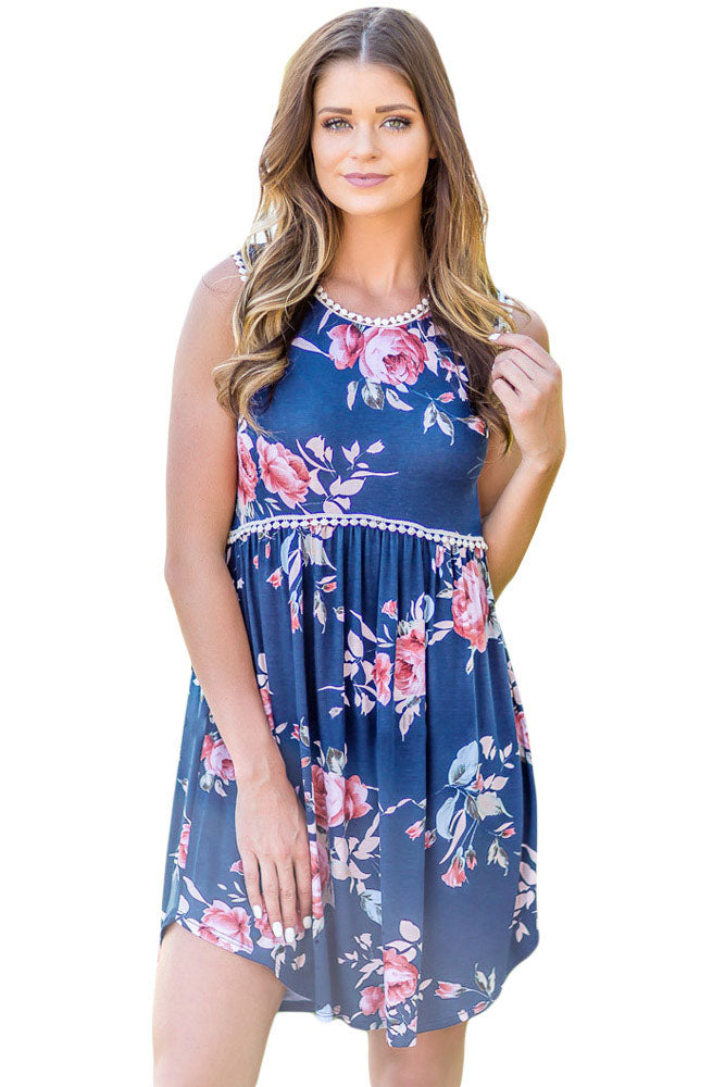Blue Lace Trim Floral Boho Dress