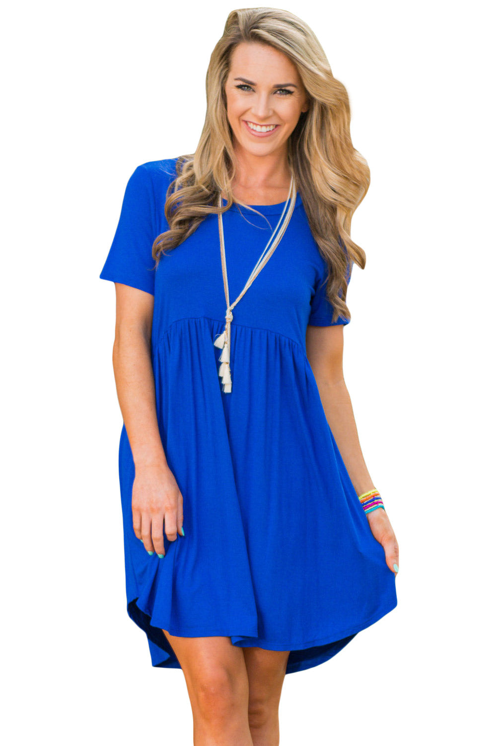 Blue Short Sleeve Pullover Babydoll Style Casual Dress