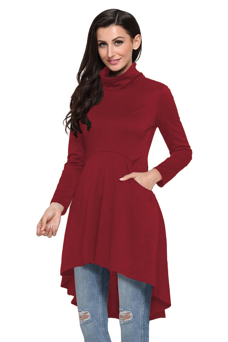 Burgundy Long Sleeve Pocket High Low Tunic