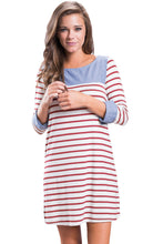 Burgundy Striped Deinm Blue Cuffs Casual Dress