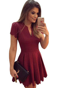 Burgundy Sweet Scallop Pleated Skater Dress