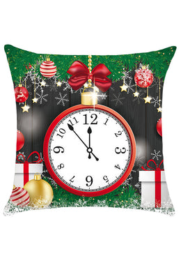 Christmas Clock and Baubles Pattern Decorative Pillow Case