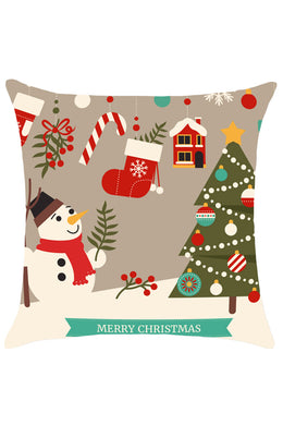 Christmas Decorations Snowman Pattern Throw Pillow Case