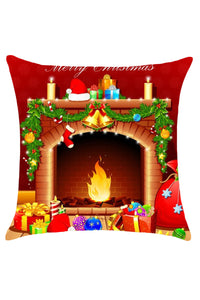 Christmas Fireplace Pattern Decorative Linen Pillow Case