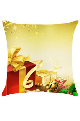 Christmas Gifts Pattern Linen Throw Pillow Case