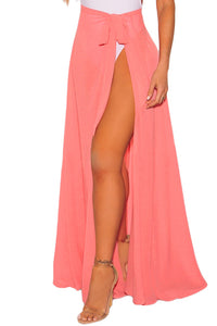 Coral Sheer Wrap Maxi Beach Skirt