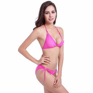 Contrast - Binding Newest Strappy Bandages Stretch Mesh Transparent Bikini