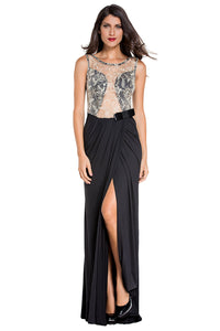 Embroidered Mesh Wrap Maxi Dress