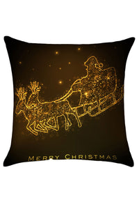 Golden Christmas Carriage Decorative Pillow Cover
