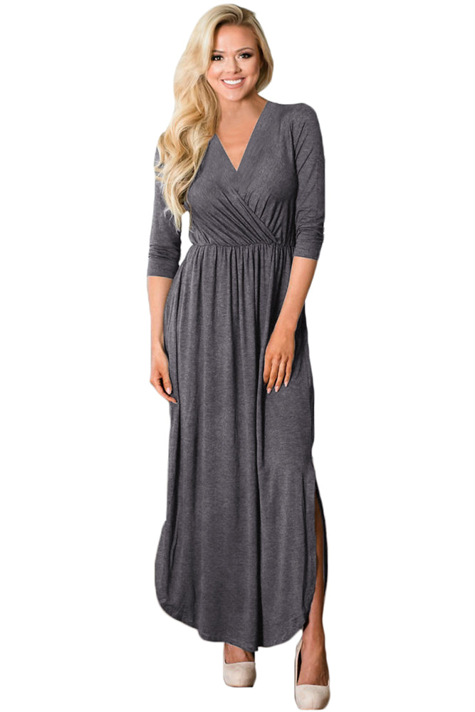 Gray Surplice Neck High Waist Pleated Pocket Maxi Dress
