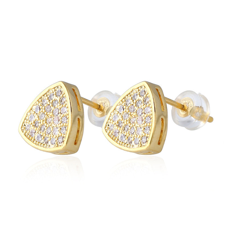 Fashion Shine Full Zircon Micro Pave Cz Rhinestone Triangle Stud Earring For Women Men Gold Earrings Jewelry Gifts