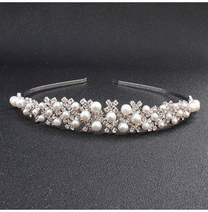 Austrian Crystal Stone Pearls Tiaras and Crowns Ivory White Women Queen Princess Diadem Hair Jewelry Accessories Ornament