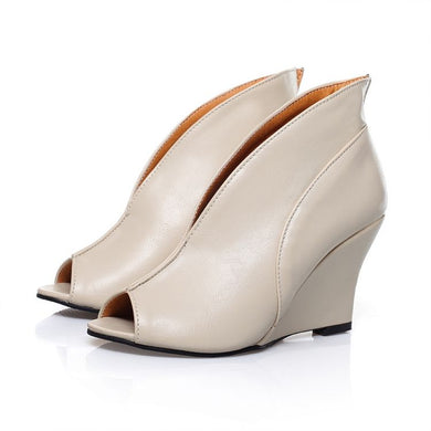 Sexy V-shaped Slim Wedges Platform Sandals