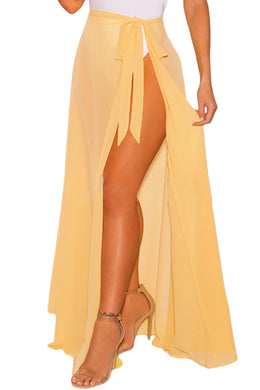 Lemon Sheer Wrap Maxi Beach Skirt