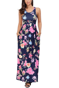 Navy Flourish Print Sleeveless Long Boho Dress
