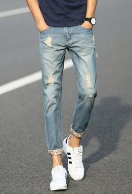Destroyed Jeans Cropped Trousers for Men