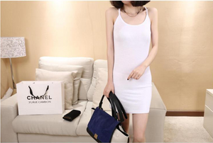Long Flat-Necked Solid-Colored Base Skirt In A Slim-Fitting Hip-Hugging Halter Dress For Women
