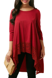 Red Lace Splice High Low Hemline Blouse