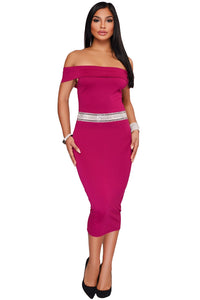 Rhinestone Waistband Fuchsia Off The Shoulder Midi Dress