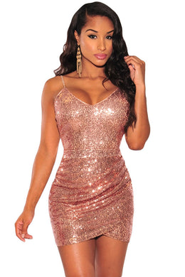 Rose Gold Sequin Ruched Club Dress