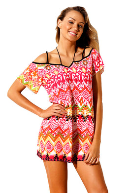 Rosy Bohemian Pattern Flutter Sleeves Beach Tunic