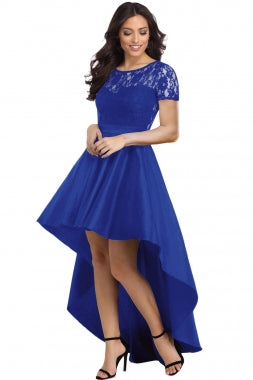 Royal Blue Lace Bodice Elegant Hi-low Party Dress