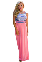 Stylish Tribal Print Sleeveless Coral Maxi Dress
