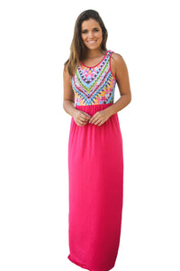 Stylish Tribal Print Sleeveless Rosy Maxi Dress
