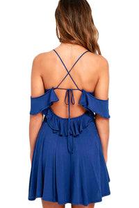 Sweet Sexy Navy Backless Skater Dress