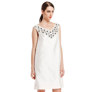 Female Style Rice White Elegant Imitation Diamond Sleeveless Dress Spring And Summer