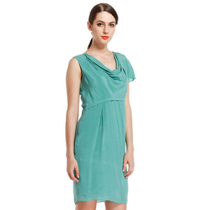 Women'S Green Slim Irregular Sleeve Dress Spring And Summer Sexy Wear Slim