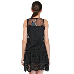 Black Dress For Spring Summer Black Lace Short-Sleeved Dress