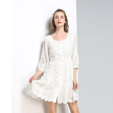 Three-Dimensional Embroidered Piece Hollow Splicing Seven-Sleeve Dress Spring And Summer