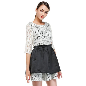 Women'S Beige Black Elegant Lace Mid-Sleeve Dresses For Women Summer Wear