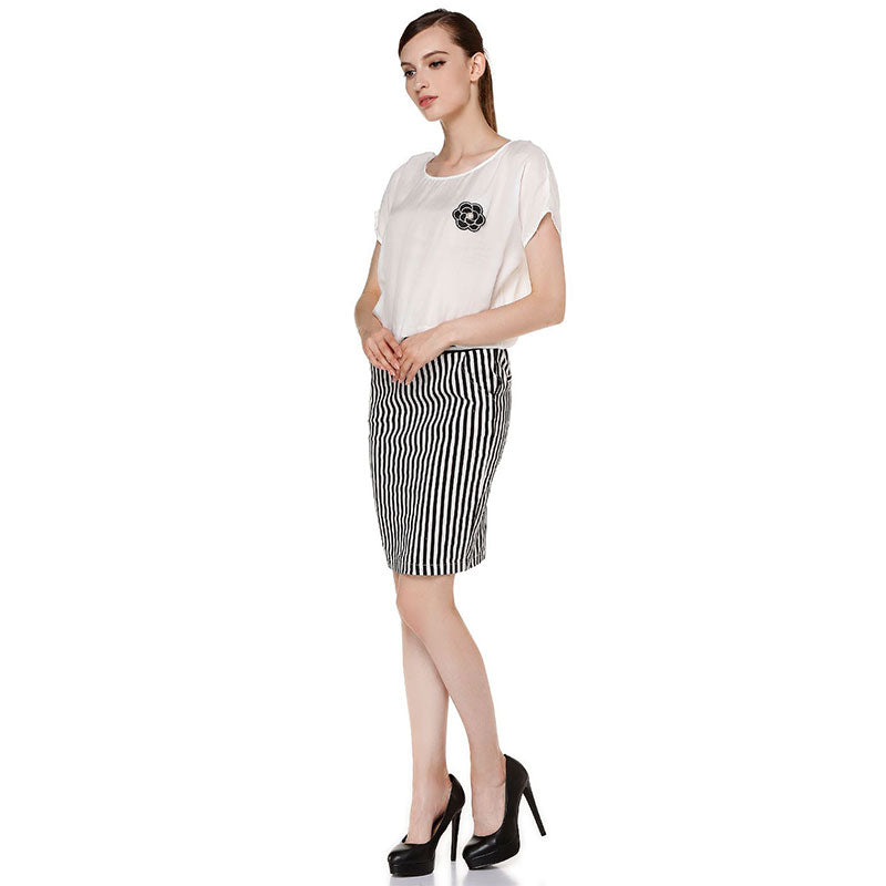 White And Black Patchwork Casual Dress With Short Sleeves Sexy Dresses