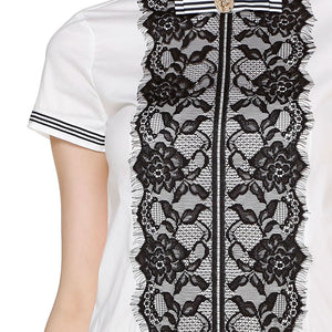 Shopee'S Elegant White And Black Lace Short-Sleeved Dress