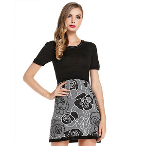 Jacquard Lower Hem Stitching Short Sleeve Knit Dress Spring And Summer