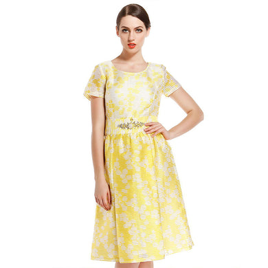 Women'S Yellow Elegant Elegant Short Sleeve Dress Spring And Summer