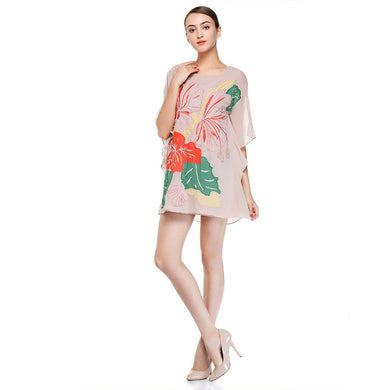 Women'S Khaki Embroidered Chiffon Fashion Dress For Women Fashion