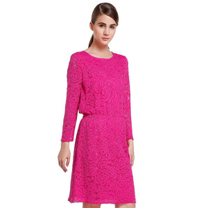 Special Cabinet Synchronous Mei Red Elegant Waist Closing Nine-Point Sleeve Dress Autumn