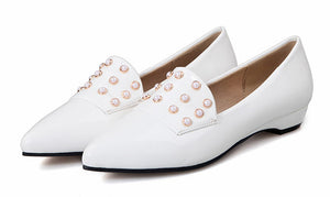 Synthetic Pearl Flat Pump Shoes