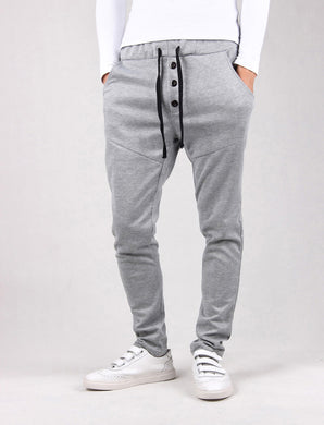 Three Buttons Up Elastic Casual Pants with Drawstring