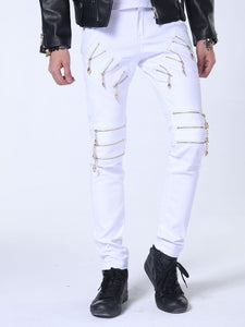 Punk Style Zips Decoration Fashion Men's Long Trousers