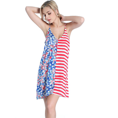 Popular USA Flag Print Women's Wild Sexy 100% Viscose Dress Beach Cover Up
