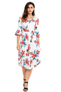White 3/4 Bell Sleeve Floral Midi Dress