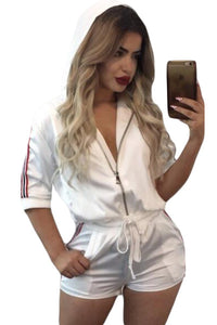 White Bomber Jacket Satin Short Set